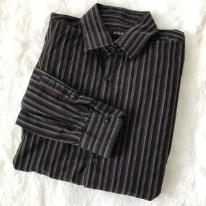 [alfani] 100% cotton striped button down shirt